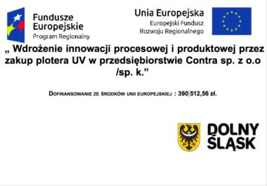 """Realizacja projektu """"Wdrożenie innowacji procesowej i produktowej przez zakup plotera UV w przedsiębiorstwie Contra sp. z o.o. sp. k."""""""